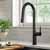 Kraus Matte Black Tall Oletto Kitchen Faucet Lifestyle View 2