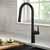 Kraus Matte Black Tall Oletto Kitchen Faucet Lifestyle View