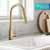 Kraus Brushed Gold Standard Oletto Kitchen Faucet Lifestyle View 2