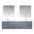 """Lexora Home Geneva 72"""" Dark Grey Double Vanity, White Carrara Marble Top, White Square Sink, 30"""" LED Mirrors and Faucets, 72""""W x 22""""D x 19""""H"""