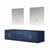 """Lexora Home Geneva 72"""" Navy Blue Double Vanity Base Only With 30"""" LED Mirrors, 71-1/4""""W x 21-1/2""""D x 18-1/4""""H"""