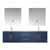 """Lexora Home Geneva 72"""" Navy Blue Double Vanity, White Carrara Marble Top, White Square Sink, 30"""" LED Mirrors and Faucets, 72""""W x 22""""D x 19""""H"""