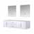 """Lexora Home Geneva 72"""" Glossy White Double Vanity Base Only With 30"""" LED Mirrors, 71-1/4""""W x 21-1/2""""D x 18-1/4""""H"""