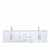 "Lexora Home Geneva 72"" Glossy White Double Vanity, White Carrara Marble Top, White Square Sink, 72""W x 22""D x 19""H"