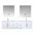 """Lexora Home Geneva 72"""" Glossy White Double Vanity, White Carrara Marble Top, White Square Sink, 30"""" LED Mirrors and Faucets, 72""""W x 22""""D x 19""""H"""