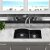 "Nantucket Sinks Plymouth Collection 60/40 Double Bowl Undermount Granite Composite Kitchen Sink in Black, 33"" W x 20-1/2"" D x 9-7/8"" H"
