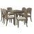 7-Piece Set w/ Chairs Distressed Gray & Fog Fabric