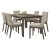 7-Piece Set w/ Upholstered Chairs Distressed Gray & Fog Fabric