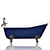 "WaterMark Fixtures Cobalt Blue 67"" Antique Inspired Cast Iron Porcelain Clawfoot Bathtub 5.5' Flat Rim Slipper Bathtub Package Bronze Feet"