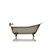 "WaterMark Fixtures Grey Brown 67"" Antique Inspired Cast Iron Porcelain Clawfoot Bathtub 5.5' Flat Rim Slipper Bathtub Package Bronze Feet"