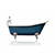 "WaterMark Fixtures 67"" Antique Inspired Hague Blue Cast Iron Porcelain Clawfoot Bathtub Flat Rim Slipper Bathtub Package Chrome Feet"