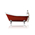 "WaterMark Fixtures 67"" Antique Inspired Cast Iron Porcelain Clawfoot Bathtub Flat Rim Slipper Bathtub Package Chrome, Incarnadine Red"