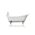 "WaterMark Fixtures 67"" Antique Inspired Cast Iron White Porcelain Clawfoot Bathtub, Flat Rim Slipper Bathtub Package Bronze"