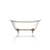 """White 67"""" Antique Inspired Double Slipper Cast Iron Porcelain Clawfoot Bathtub Package, Chrome Deco Feet"""