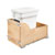 Rev-A-Shelf Single White Compo+ Bin Pull-Out with Rear Storage, Wood Bottom Mount with Blum Soft-Close Slides