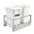 Rev-A-Shelf Double Soft-Close Bottom Mount Recycle Center With (1) White Compo+ Container and (1) 35 Qt. White Bin, Pull-Out Aluminum Carriage