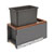 Rev-A-Shelf Single 30 Quart (7.5 Gallon) Metal LEGRABOX Trash Pullout, Orion Gray Can with Walnut Insert, Bottom Mount with BLUMOTION Full Extension Soft-Close Slides