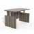 """Safco Aberdeen® Height-Adjustable Bow Front Desk with Base, Gray Steel TF Laminate, 66""""W x 42""""D x 29-1/2"""" to 47-3/4""""H"""