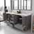 Cashmere Grey, Dazzle White Quartz, Square Sinks Opened View