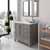 Cashmere Grey, Dazzle White Quartz, Round Sink Angular View