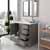 Cashmere Grey, Dazzle White Quartz, Square Sink Opened View