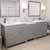 Cashmere Grey, Dazzle White Quartz, Round Sinks Angular View