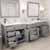 Cashmere Grey, Dazzle White Quartz, Round Sinks Opened View