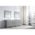 "Virtu USA Caroline Parkway 93"" Double Bath Vanity Set in Cashmere Grey w/ Italian Carrara White Marble Countertop, Round Sinks, Brushed Nickel Faucets and Mirrors, Base Cabinet: 92"" W x 22-1/16"" D x 34-11/16"" H"