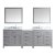 "Virtu USA Caroline Parkway 93"" Double Bath Vanity Set in Cashmere Grey w/ Italian Carrara White Marble Countertop, Round Sinks, Polished Chrome Faucets and Mirrors, Base Cabinet: 92"" W x 22-1/16"" D x 34-11/16"" H"