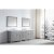 "Virtu USA Caroline Parkway 93"" Double Bath Vanity Set in Cashmere Grey w/ Italian Carrara White Marble Countertop, Square Sinks, Brushed Nickel Faucets and Mirrors, Base Cabinet: 92"" W x 22-1/16"" D x 34-11/16"" H"