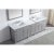 "Virtu USA Caroline Parkway 93"" Double Bath Vanity Set in Cashmere Grey w/ Italian Carrara White Marble Countertop, Square Sink and Polished Chrome Faucets and Mirrors, Base Cabinet: 92"" W x 22-1/16"" D x 34-11/16"" H"