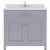Grey, Dazzle White Quartz, Square Sink - No Mirror