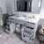 Grey, Dazzle White Quartz, Round Sink Opened View