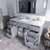 Grey, Dazzle White Quartz, Square Sink Opened View