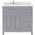 Grey, Dazzle White Quartz, Right Square Sink - No Mirror