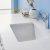 "48"" White Vanity Set Sink Close Up"